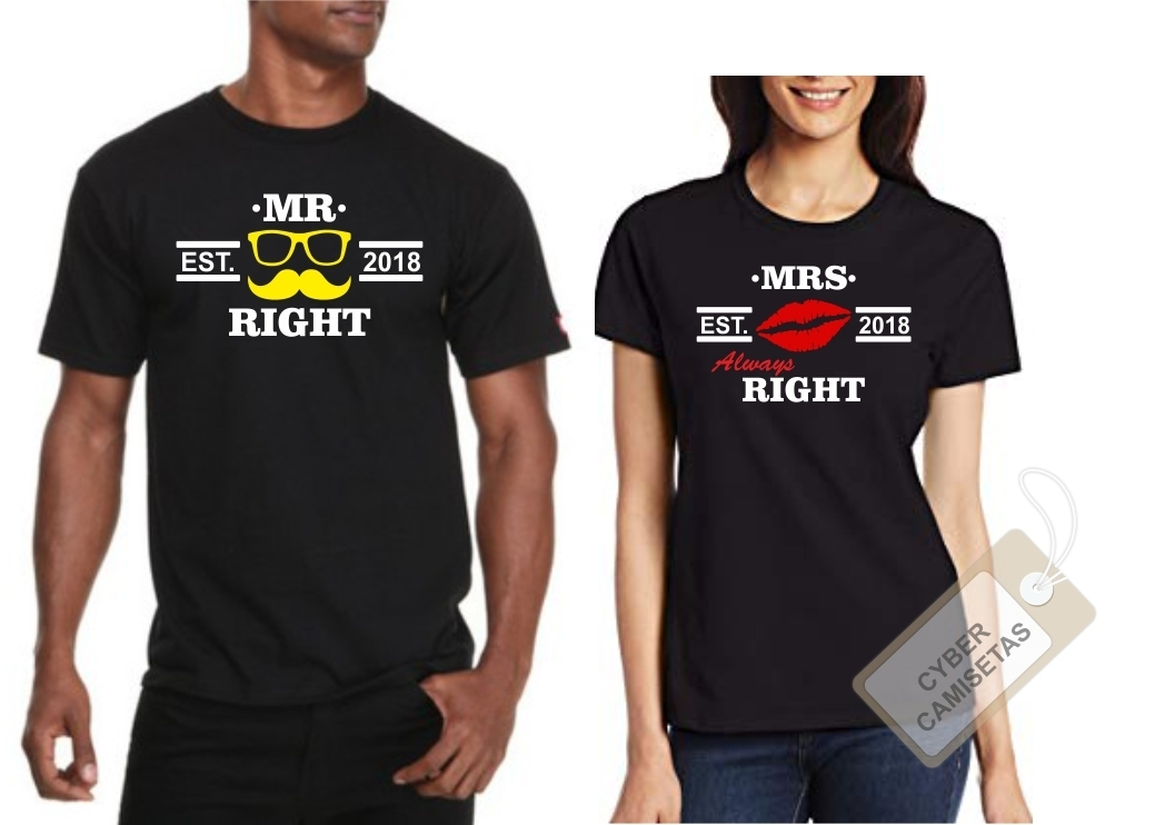 Camisetas Pareja Mr Right Mrs Always Right