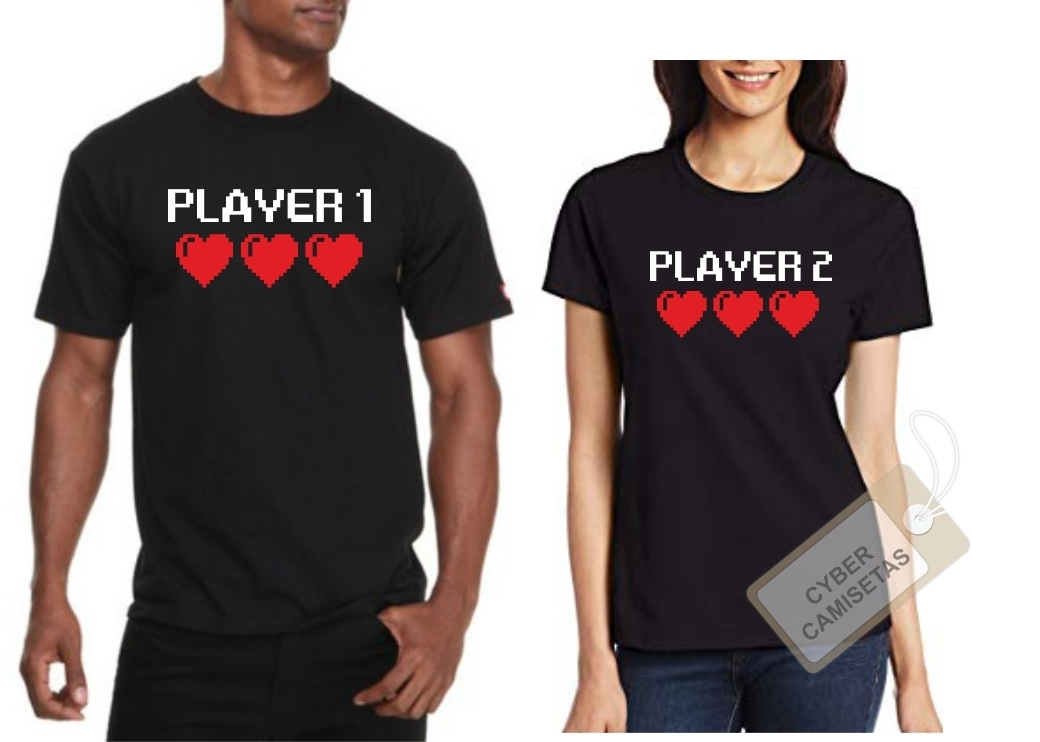Camisetas Pareja Player 1 Player 2 Retro