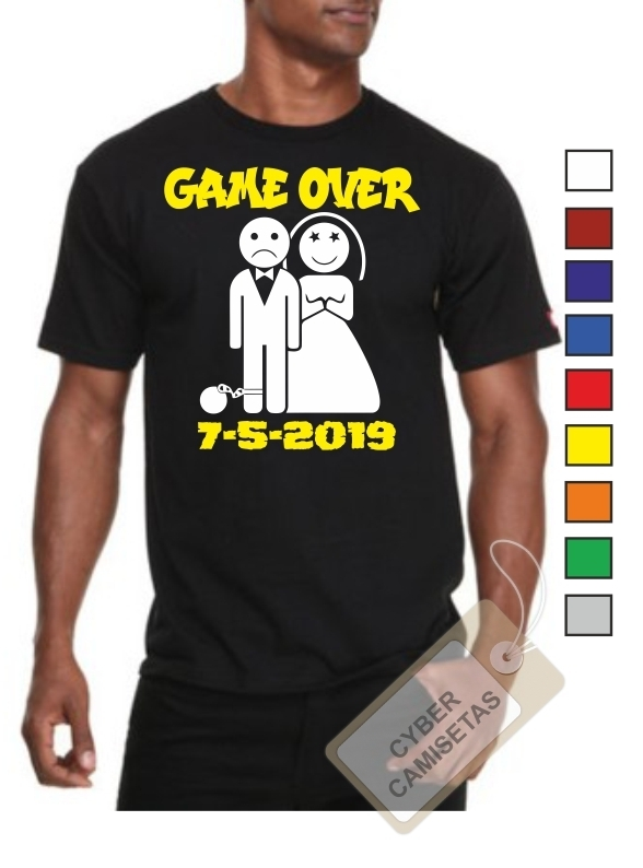 Camiseta Despedida de Soltero Game Over con Fecha